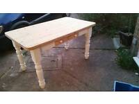 Solid pine sturdy dining room table with free 6 chairs