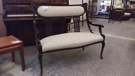 Vintage 2 seater cushioned bedroom chair