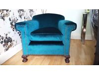 Antique club chair, square arms, newly reupholstered in teal velvet