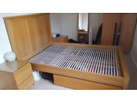 Ikea double bed with slats, bedside table x2 & under bed drawers x2