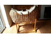 Moses Basket - luxurious wicker basket which comes complete with a comfy foam mattress and stand