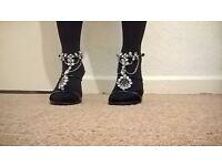 Black Diamante Strappy Sandals Size 3