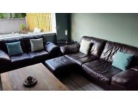 DARK BROWN 2&3 SEAT LEATHER SOFAS INCLUDING FOOTSTOOL (DFS). GOOD CONDITION AND INCLUDE CARE KIT