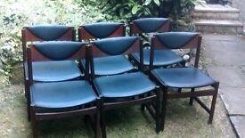 Set of 6 Retro Danish Dining Chairs