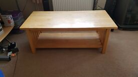 Coffee table light wood colour good condition 20.00