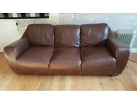 Brown leather 3 seater sofa - free