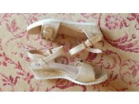 Ladies Gold Rope Wedge Sandals Size 5 VGC.