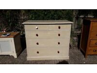 Edwardian chest of 2 over 3 drawers - solid mahogany/painted