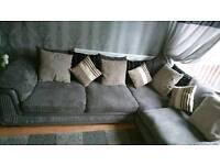 Charcoal & grey corner sofa