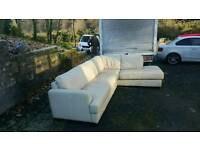 Beautiful cream leather corner suite was £1500 new in dfs