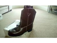 Brand new in the box tall brown steel toecap working boots