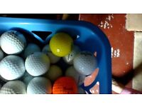 30 Golf Balls and Various Clubs in a Brown Bag