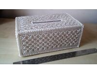 Artisan Handmade Tissue Box Sparkling Bead Hand Crafted Patterned Padded Inside