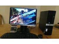 """HP 3010 Small Form Desktop PC Tower HP 20"""" Wide Screen With"""