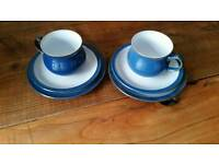 Denby imperial blue cups and saucers x 2