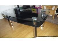 black and chrome glass coffee table £25 need to sell asap!!