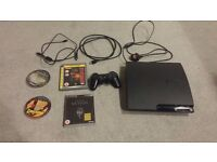 PS3 slim 120 GB, 8 games, very good condition, all cables.