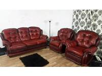 Chesterfield 3 piece suite 2 recliner chairs**Free delivery**