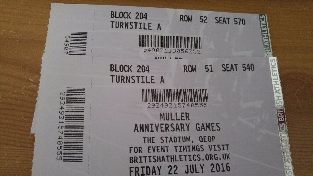 2 tickets muller anniversary games friday 22 july great view in