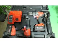 Milwaukee Fuel Brushless Impact Driver M18 CID, Combo Drill M18 CPD 2x 5.0Ah Batteries and Charger.