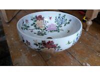 Vintage Pretty Ceramic Counter Top Sink - Victorian Look