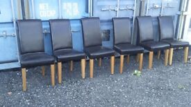 6 x Brown Leather Chairs For Sale.