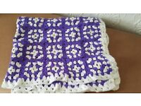 Hand crafted 1970's vintage crocheted knee blanket
