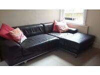 John Lewis Dark Borwn Leather 3 seats Sofa with chaise Long