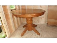 SOLID, HEAVY PINE, EXTENDING DINING TABLE. 42 INCHES