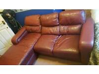 Ox blood corner sofa