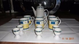 Royal Norfolk 6 Person Coffee Pot/Tea Set/Breakfast Set with Egg Cups