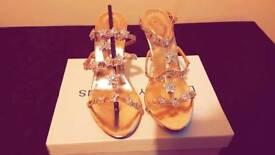 BRAND NEW!!BARGAIN Size 6 golden jewelled heel sandals