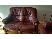 Ox blood leather sofa