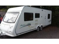 TWIN AXLE FAMILY VAN 2008/09. 6 BERTH ELDDIS CRIS REGISTERED TWIN BEDROOMS. AWNING. ALL ACCESSORIES
