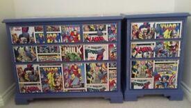 Marvel comic 2 piece drawers set solid wood