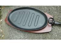 4x steak platter sets metal sizzler plates