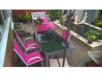 Garden Table Metal with Glass top (selling table only)