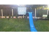 Climbing frame by TP with accessories den, swing, rope, two platforms and slide with extension