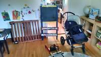 Bugaboo stroller, child seat, gates and easel