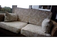 2 Sofas 1 Glass Top Table & Foot Stool in Banana Weave & Light Material Cushions