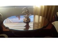 coffee table glass top,victorian style,shelf underneath and brass claw feet