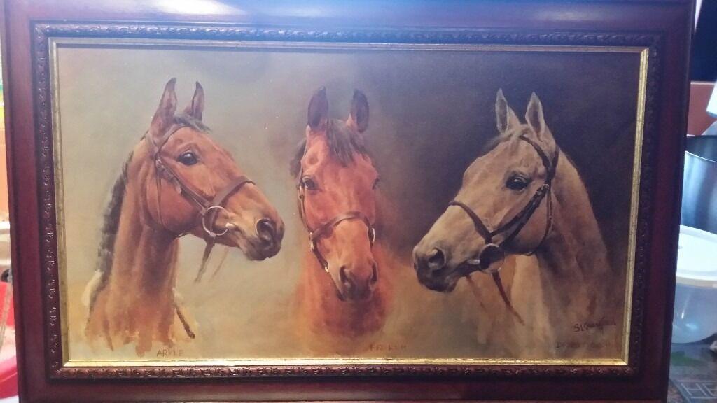 Large Framed Horse painting\'We Three Kings\' Arkle, Red Rum, Desert ...