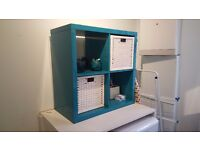 Ikea KALLAX High-gloss turquoise shelving unit with 2x BRANÄS white baskets RRP £70