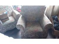 Two Floral Sofa Chair Pair