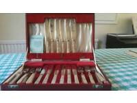 Set of 12 fish knives and forks in a box epns