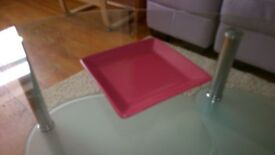 SQUARE CANDLE PLATE ORNAMENT HOLDER PINK RASPBERRY RED