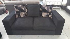 BRAND NEW LARGE 2 SEATER DESIGNER SOFA BLACK FABRIC CAN DELIVER View Collect Kirkby NG17