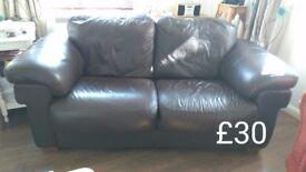 Matching 2x Italian leather sofa, pair £40