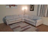 Ex-display Mustang light cream leather electric recliner corner sofa