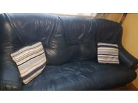 Blue Leather sofa & 2 chairs